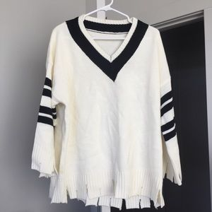 Varsity Sweater with Cut Edges